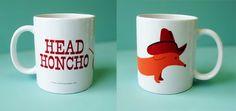 i kinda want this! (head honcho doxie mug via www.rockscissorpaper.com)