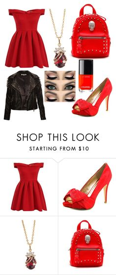 """Lady In Red"" by captainirata ❤ liked on Polyvore featuring Chi Chi, Pelle Moda, Philipp Plein and Chanel"