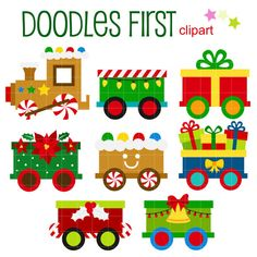 This clipart set includes the following elements.  8 x Christmas Trains  Each clipart illustration is included separately as a high resolution PNG file with a transparent background and also as a JPG with a white background  Each object is provided at a sizes of 5.5 Inches on its longest side. The PNG makes it versatile to scale for any project.  No watermarks will appear on purchased items.  The purchased clip art that will be provided is much higher quality that what you see in preview…