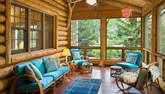 Interior of screened porch with tree-length white cedar finish and bead board paneling  Love the teal... upholstery... Another idea for your Sierra City Home!