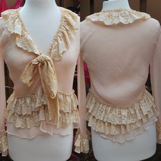 Sheer Pink Lace Ruffled Blouse I think a cardy might look cute refashioned like this