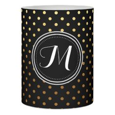 Gold Foil and Black Monogram Polka Dot Pattern Flameless Candle