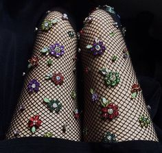 Colorful Crystal Embellished Fishnet Stockings.