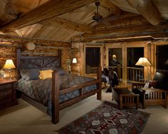 This is a really cozy looking western bedroom!  To decorate your western home visit Lights in the Northern Sky www.lightsinthenorthernsky.com