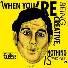 "John Cleese on ""Creativity""  #loulaillustration #illustration #ilustração #art #montypython #johncleese"