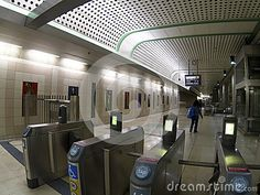 Gates into a Subway station, empty during the December holiday season,