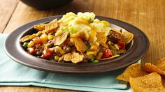 A new take on shepherd's pie--zesty barbecue-sauced meat, topped with creamy potatoes and crunchy Green Giant® barbecue multigrain sweet potato chips.