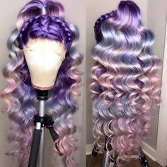 colorful human hair lace wig