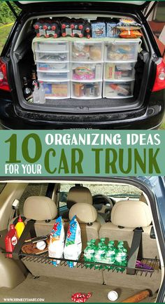 10 Car Trunk Organizer DIY Ideas Make full use of the space in your trunk with little modifications. Car Life Hacks, Car Hacks, Camping Hacks, Suv Camping, Suv Trunk Organization, Organization Hacks, Organizing, Car Trunk, Road Trip With Kids