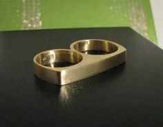 Men's Two Finger Ringin Gold Alloy by noellemfinejewelry1 on Etsy, $45.50