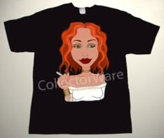 TORI AMOS cartoon CUSTOM ART UNIQUE T-SHIRT Each T-shirt is individually hand-painted, a true and unique work of art indeed!  To order this, or design your own custom T-shirt, please contact us at info@collectorware.com, or visit http://www.collectorware.com/tees-tori_amos.htm