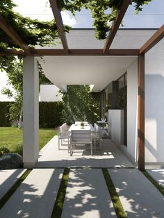 When historic throughout concept, this pergola may be enduring a bit of a current Pergola Plans, Diy Pergola, Outdoor Rooms, Outdoor Living, Exterior Design, Interior And Exterior, Pool Patio Furniture, Modern Ranch, Decks And Porches