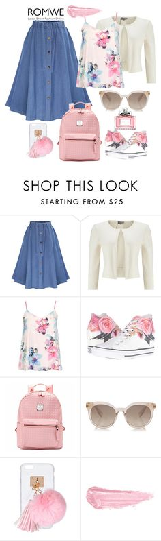 """""""Denim-Flare-Skirt"""" by manueladimauro ❤ liked on Polyvore featuring WithChic, Phase Eight, Dorothy Perkins, Converse, Ashlyn'd, By Terry and Christian Dior"""