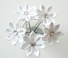 White Kanzashi  flower hair pins for bride, Wedding hair flowers, Bridal hair accessories.. $22.00, via Etsy.