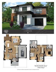 Maisons de prestige - Contemporaines à vendre House Plans For Sale, Sims 4 House Plans, Two Story House Plans, House Floor Plans, Modern Floor Plans, Contemporary House Plans, Modern House Design, Casas The Sims 4, Model House Plan