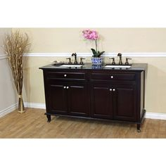 Bellaterra Home Osona 62-in. Double Bathroom Vanity with Granite Top - 603215-62DM-BG