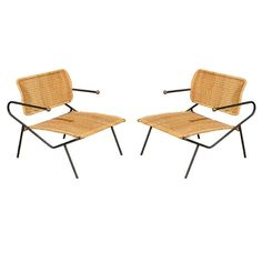 Dan Johnson; Enameled Metal, Brass and Wicker Lounge Chairs, 1950s.