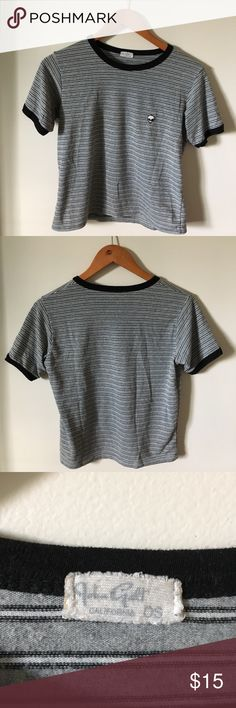 Brandy Melville John Galt Alien Striped Tee Still I'm good condition! Cropped Striped tee with the signature alien on the chest. Very cute and basic to go with many outfits Brandy Melville Tops Tees - Short Sleeve