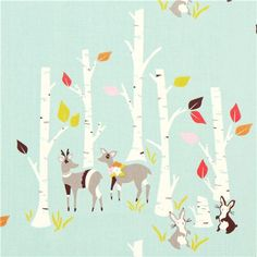 sea green forest animal birch organic fabric deer rabbit USA 1