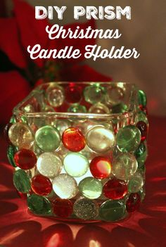 Are you looking for a fun DIY Christmas Candle Holder craft? This homemade Prism Christmas Candle Holder looks expensive, but it's very affordable to make!