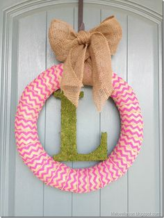 DIY spring chevron burlap wreath from Life.Love.Larson.  This would also be great during the winter holidays with a red chevron ribbon.