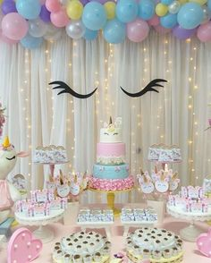 Birthday Party and Birthday Banners, Party Inspirations Unicorn Themed Birthday Party, Unicorn Birthday Parties, Birthday Party Decorations, First Birthday Parties, First Birthdays, Unicorn Party Decor, Girls Birthday Party Themes, 5th Birthday, Birthday Party Design