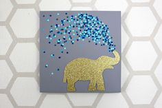 DIY Ideas with Elephants - 30 Minute Elephant Canvas - Simple Wall Art Ideas, Crafts, Jewelry, Craft Art Projects For Adults, Easy Art Projects, Arts And Crafts Projects, Project Ideas, Diy Crafts, Simple Wall Art, Diy Wall Art, Diy Art, Easy Wall