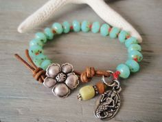 (leather used as technique to help adjustability) Beachy knotted bracelet Aloha Mermaid seafoam green by slashKnots