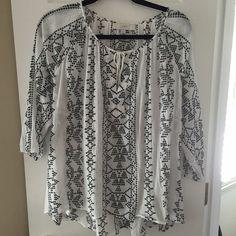 Ann Taylor Loft white peasant blouse - Large Peasant blouse. White with black embroidery detail. NWOT. 100% cotton. Flowy. LOFT Tops Blouses