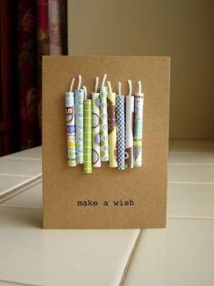 Leuke verjaardagskaart. Kaarsjes met bv washi tape beplakken en op de kaart vastmaken. Letters kan je gewoon op de kaart printen.