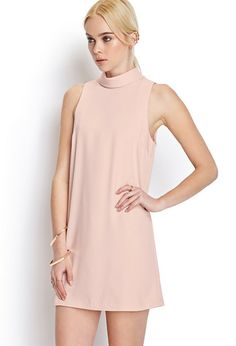 Pink Stand Collar Sleeveless Shift Dress