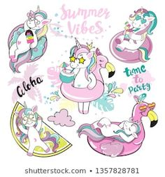 A beautiful unicorn with a swimming ring of flamingos, summer unicorn collection Tropical Girl, Beautiful Unicorn, Kawaii, Journal Design, Flamingo Party, En Stock, Craft Box, Kids Prints, Diy Painting