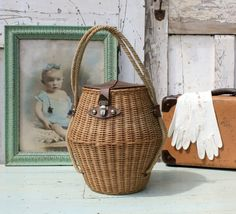 Wicker Basket/French vintage/French Basket/Wicker Basket/Storage Basket/Straw Bag by Restored2bloved on Etsy