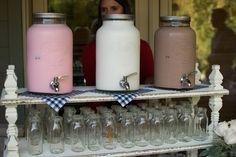 Cookies & Milk bar for the kids at a wedding or any party. Strawberry, Plain and Chocolate Milk. Love this idea!