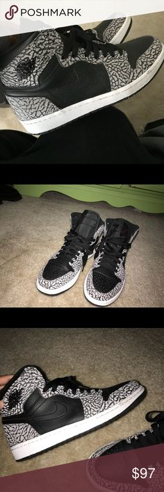 "Jordan Retro 1 Highs ""Black Elephant Print"" sz 8.5 Some creasing in the front, only been worn a handful of times . Great condition no scuffs no scratches . Leather . Size 8.5 but cut a little big so can fit size 9 . Men's. Jordan Shoes Sneakers"