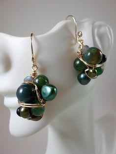 Cluster Earrings/ Fresh Water Pearl Earrings/ by HipChickJewelry