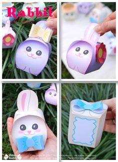 Print & create 6 adorables bunny favor boxes for Easter or any Spring party. Fill them with mini eggs, candies, chocolates or small gifts. The pastel bunnies are so cute. They will make lovely Easter favors and great friends to children.  Each bunny / box is unique. There is a little frame at the bottom for you to write down a name. Each bunny has its accessory : either a bow, a hat or flower you can add to the box.  They are about L 2.5 X W 2.5 x h 4 inches. Find out about other fa...