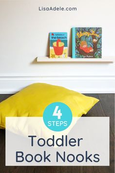 A simple book nook makes it easy for your Montessori todd ler to explore books! Learn how to set up a reading area for your 2-3 year old in 4 easy steps. Reading Nook Ideas for Kids Bedrooms or Playrooms | Toddler Bookshelf Ideas that Work in Small Spaces | Book Nook Ideas Kids Reading Areas | Preschool Book Shelf Ideas | Montessori Toddler Rooms 2 Year Olds At Home | Toddler Playroom Ideas Small Spaces Book Storage Corner | Wall Book Shelf Ideas Kids DIY #kidsdecor #toddlerooms #montessori Montessori Toddler Rooms, Toddler Playroom, Toddler Books, Toddler Preschool, Playroom Ideas, Toddler Activities, Reading Areas, Kids Reading, Reading Nook