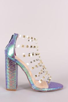 9f604afef632 Liliana Clear Studded Straps Holographic Chunky Heel. This open toe ...