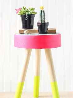 Make a colorful DIY concrete stool to brighten your home for summer visitors.