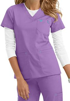 Med Couture Moda modern fit v-neck scrub top. Main Image