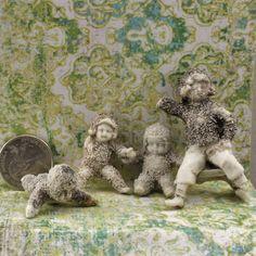 4 Vintage German Snow Babies  damaged for restoration by oscarcrow, $18.00