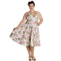 Hell Bunny 50's Bamboo Floral Dress Cream