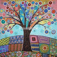"""KARLA GERARD. Ilustradora estadounidense . A primera vista puede parecer totalmente naif, pero enseguida se puede observar un toque de surrealismo, otro de abstracción e incluso algunos elementos parecen sacados de una obra modernista. Es este el caso de los árboles que aparecen con muchísima frecuencia en sus trabajos y que recuerdan a """"El árbol de la vida"""" de Klimt. Su mundo mágico esta compuesto por flores, casas bailando y pájaros felices de todos los colores."""