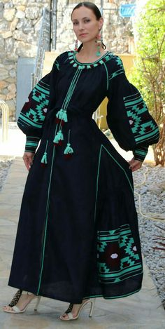 Beautiful embroidered quality linen, bohemian folk dress Please understand that this item is not mass produced, they are made to order. Although we can custom make any color and or style, they are eac Folk Fashion, Ethnic Fashion, Hijab Fashion, Fashion Dresses, Ukrainian Dress, Ethno Style, Embroidery Dress, Traditional Dresses, Beautiful Outfits