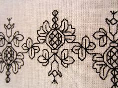 Hand stitched 16th Century pomegranate design blackwork.  Silk thread on linen.  www.embroideryemporium.co.uk
