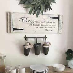 BLESS THE FOOD before us sign rustic - white farmhouse sign with barn door hinges - farmho Country Farmhouse Decor, Farmhouse Style Decorating, Modern Farmhouse, Farmhouse Kitchens, White Farmhouse, Farmhouse Signs, Farmhouse Ideas, Dining Room Walls, Dining Room Design