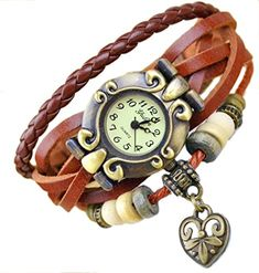 Boho Chic Vintage Leather Rope Bracelet Quartz Watch with Heart Brown ** Be sure to check out this awesome product.(It is Amazon affiliate link) #iliketurtles