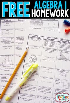 Free Math Homework for Algebra 1. This Algebra 1 math homework is aligned with the common core math standards. Can also be used as warm-ups or bell wringers.