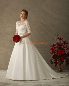 A-linie Elegante Moderne Brautkleider aus Satin mit Schleppe